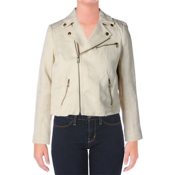 Lauren Ralph Lauren Womens Basic Jacket Lined Linen Blend