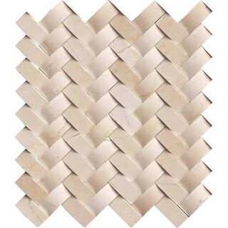 "MSI ARCH-CREM-HBP  12"" x 12"" Herringbone Mosaic Wall Tile - Smooth Marble Visual - Sold by Carton (10 SF/Carton) - Polished"