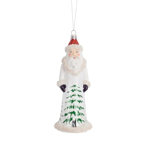 Pack of 6 Old World Santa Claus with Beaded Accents Glass Christmas Ornament 7""