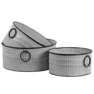 Metal Round Bucket with Ring Side Handle & Ribbed Design Body Set