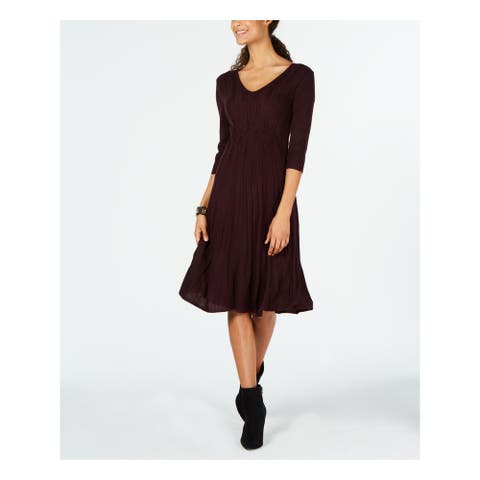 CONNECTED APPAREL Burgundy 3/4 Sleeve Below The Knee Dress Size L