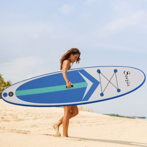 """Soozier 130"""" x 32"""" Inflatable Stand Up Paddle Board with Accessories, Including SUP Paddle, Carry Bag, & Air Pump"""