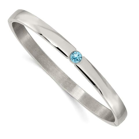 Chisel Stainless Steel Polished with Blue Preciosa Crystal 6mm Hinged Bangle