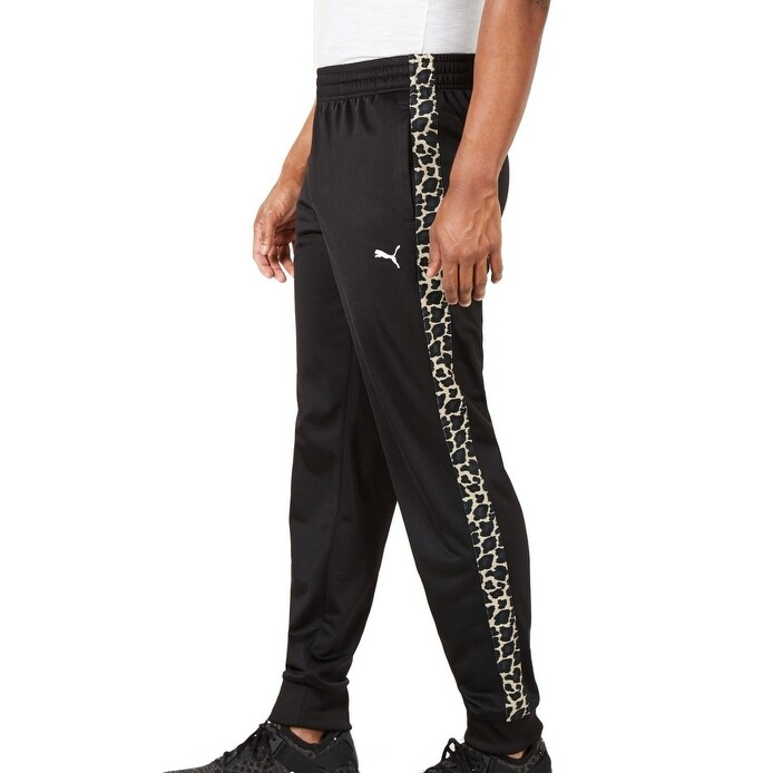 Puma Mens Pants Deep Black Size M Medium Jogging Stretch Cheetah Print