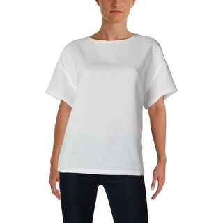 Anne Klein Womens Blouse Perforated Short Sleeves