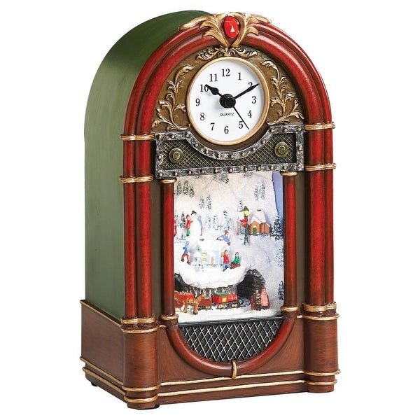 "9"" LED Vintage Radio Clock Winter Scene with Rotating Train Christmas Table Top Figure"