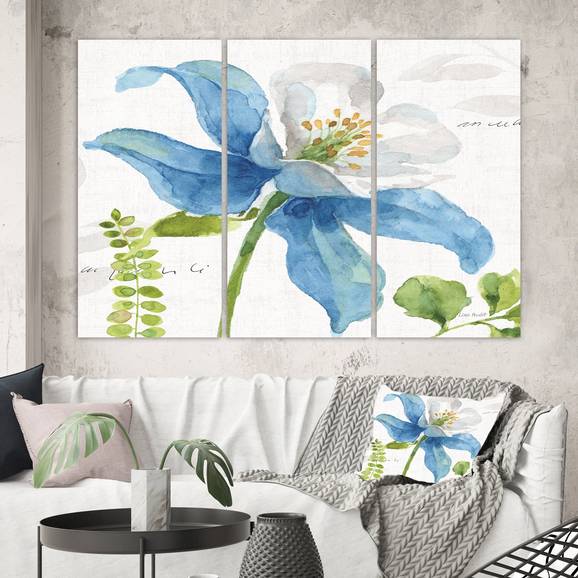 Designart Blue Columbine Wild Flower With Ferns Cabin Lodge Canvas Wall Art On Sale Overstock 28458206