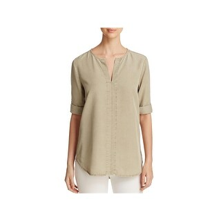 Side Stitch Womens Casual Top Seamed Hi-Low