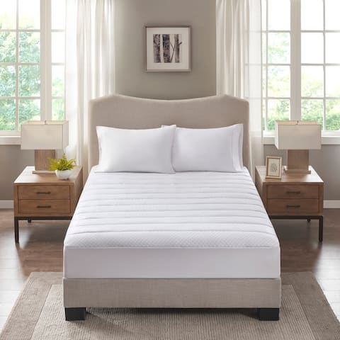 Sleep Philosophy Cooling Waterproof White Knit Mattress Pad