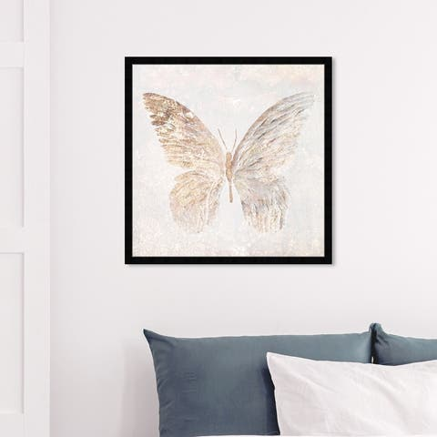 Oliver Gal 'Golden Butterfly Glimmer' Animals Framed Wall Art Prints Insects - Gold, White