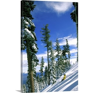 """High angle view of a man snowboarding"" Canvas Wall Art"