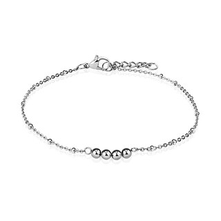 Four Beads 316L Stainless Steel Chain Anklet/Bracelet (13.5 mm) - 9.25 in