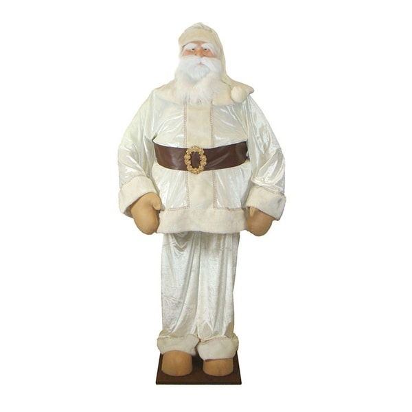Huge 6 Foot Life-Size Deluxe Cream Velvet Santa Claus - Sitting or Standing - WHITE