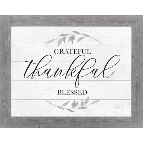 Grateful Thankful Blessed Framed Art Decor Farmhouse