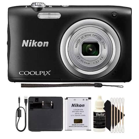 Nikon Coolpix A100 20.1 MP Compact Digital Camera Black + 3pc Cleaning Kit