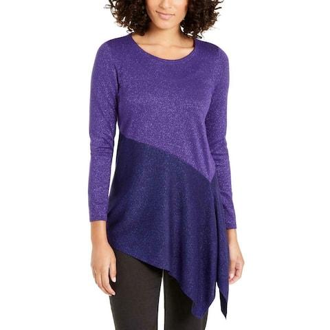 Alfani Women's Metallic Asymmetric Pullover Sweater Purple Size Small