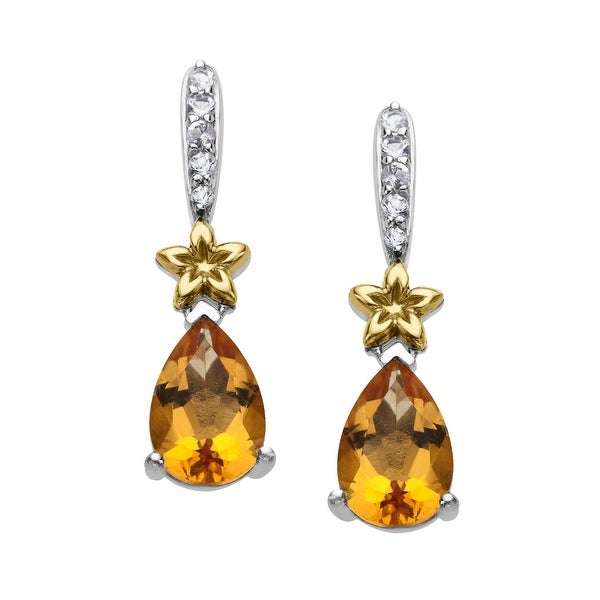 1 1/4 ct Natural Citrine & White Topaz Earrings in Sterling Silver & 14K Gold - Yellow