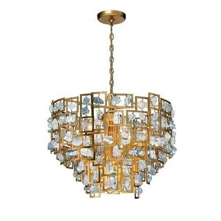 Eurofase Lighting 30069 Elrose 9 Light Chandelier with Suspended Stone Accents
