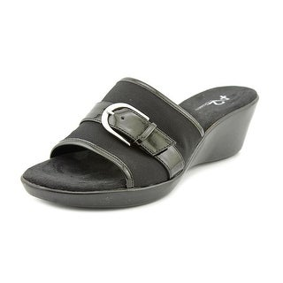 A2 By Aerosoles Eyes On You Women W Open Toe Canvas Black Wedge Sandal