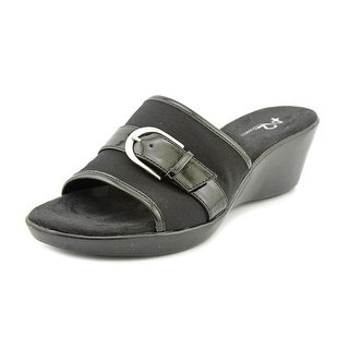 A2 By Aerosoles Eyes On You Women  Open Toe Canvas Black Wedge Sandal