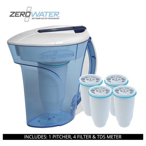 ZeroWater 10 Cup Ready-Pour Pitcher, 5 Filters & TDS Meter, ZD-010RP