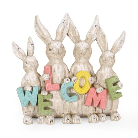 Broadus Outdoor Outdoor Rabbit Family Garden Statue by Christopher Knight Home
