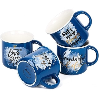 Link to Bruntmor Set of 4 Ceramic Enamel Mugs, Best Gift Idea, Inspirational Coffee Mug Set Blue Colors Coffee/Tea Mug Set 13 oz, Similar Items in Dinnerware