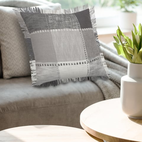Monochrome Patchwork Plaid Throw Pillow with Fringe