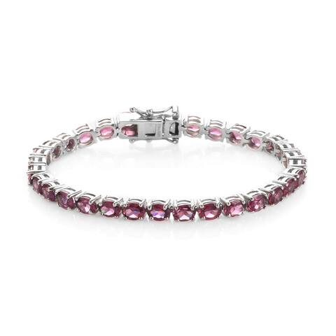 925 Sterling Silver Garnet Bracelet Size 6.5 Inch ct 13.6 - Bracelet 6.5''