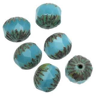 Link to Czech Glass Beads, Center Faceted Round 10mm, Aqua Blue Opaline with Picasso Finish, 6 Pieces, by Raven's Journey Similar Items in Jewelry & Beading