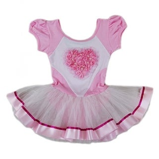 Wenchoice Girls Pink White Pearl Rose Heart Ballet Dress