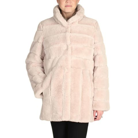 Kristen Blake Women Faux Fur Coat Jacket - Beige - X-Large