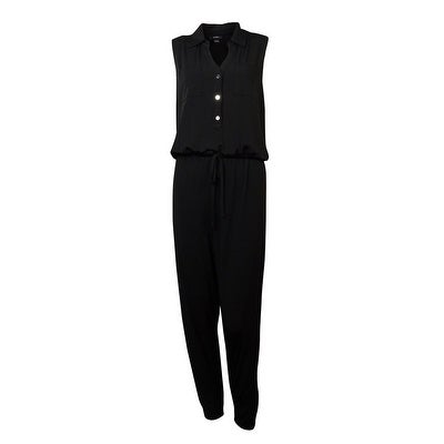 Alfani Women's Chest Pockets Belted Jersey Jumpsuit - Deep Black