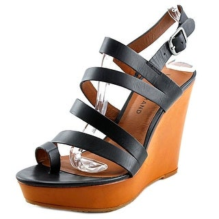 Lucky Brand Fairfina Women Open Toe Leather Black Wedge Sandal
