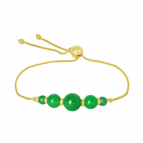 """14K Green Jade Adjustable Bracelet 9.75"""""""