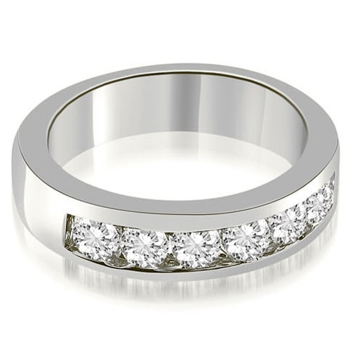 0.70 cttw. 14K White Gold Classic Channel Round Cut Diamond Wedding Band