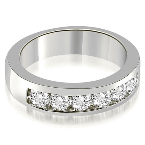 0.70 cttw. 14K White Gold Classic Channel Round Cut Diamond Wedding Band