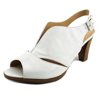 Bella Vita Leona Women W Open-Toe Leather White Slingback Sandal