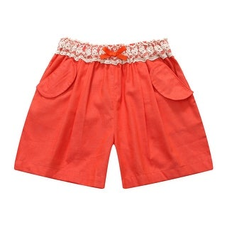 Richie House Girls' Blue Shorts with Lace Accents