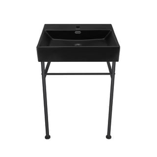 Link to Claire 24 Ceramic Console Sink Matte Black Basin Black Legs Similar Items in Sinks