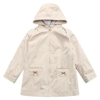 Richie House Baby Girls Beige Tie Accents Pocket Hood Jacket Overcoat 3-24M