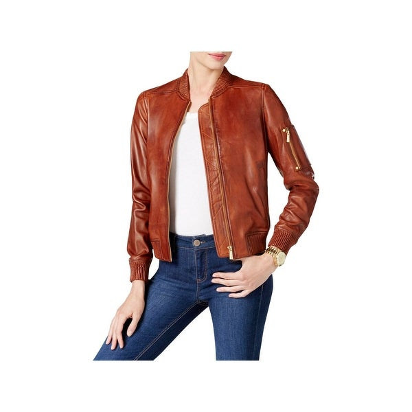Michael Kors Womens Bomber Jacket Lambskin Leather Ribbed Trim