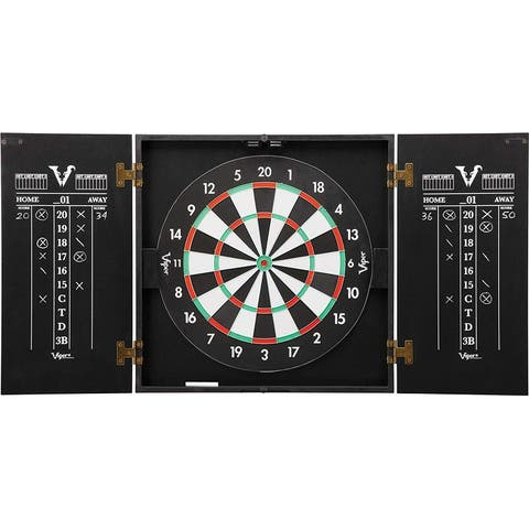 Viper Cabinet & Steel-Tip Dartboard Ready-to-Play Value Bundle Set