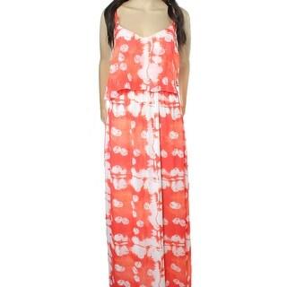 MSK NEW Orange White Womens Size 14 Print Popover Halter Maxi Dress