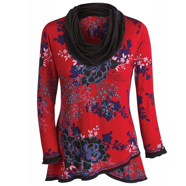 da34c83124c Shop Women s Tunic Top - Asian Aster Red Floral Print Cowl Neck Shirt -  Free Shipping Today - Overstock - 17767814