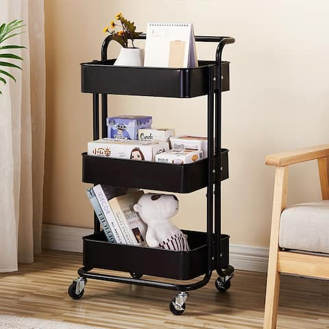 3-Tier Rolling Utility Cart With HandleTrolley Cart