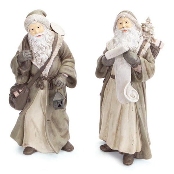 """2 Old World Style Santa Claus with Scroll or Lantern Christmas Figures 12"""""""