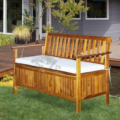 Outsunny 2-Seat Outdoor Garden Storage Bench with Acacia Wood Design, Comfort Padded Cushions & Zippered Cushion Covers