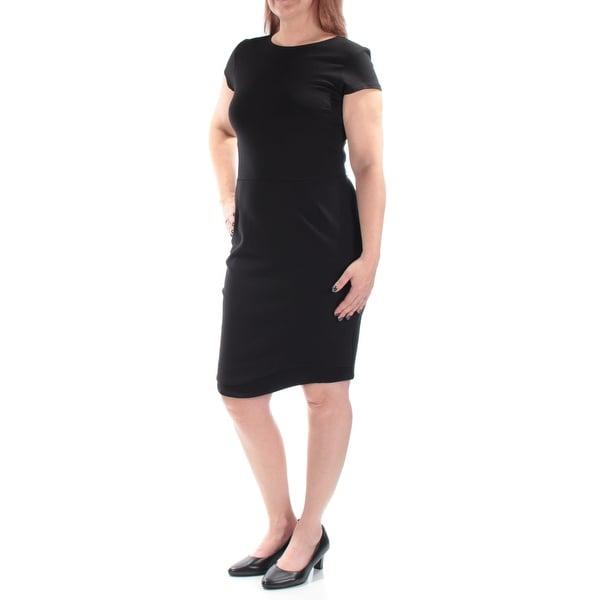 BAR III Womens Black Cap Sleeve Jewel Neck Knee Length Body Con Dress Size: M