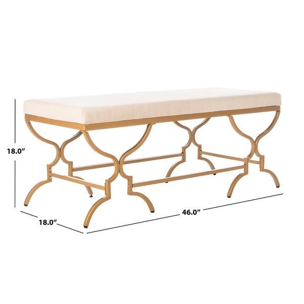 "SAFAVIEH Juliet Upholstery/ Gold Finish 46-inch Bench - 46"" x 18"" x 18"""
